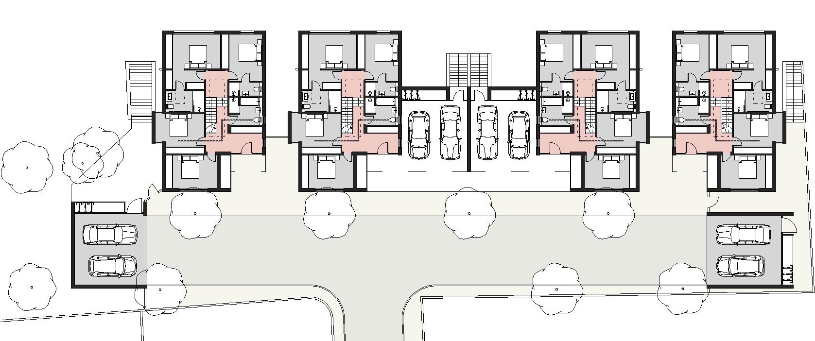 proposed ground floor plans dwellings 1-4