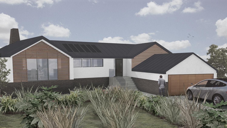 rendering of entry side of riverside homestead