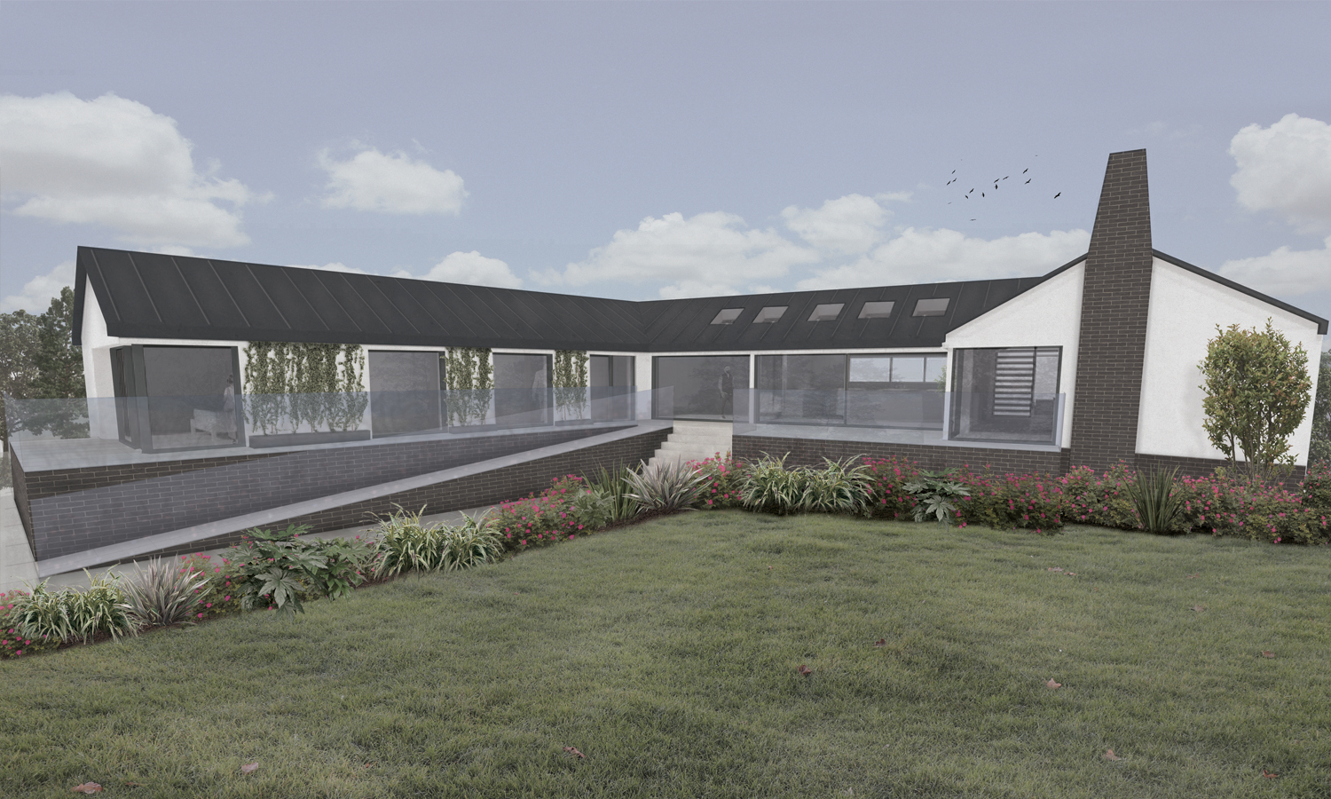 rendering of exterior of riverside homestead with landscaping and glass balustrade to ramp