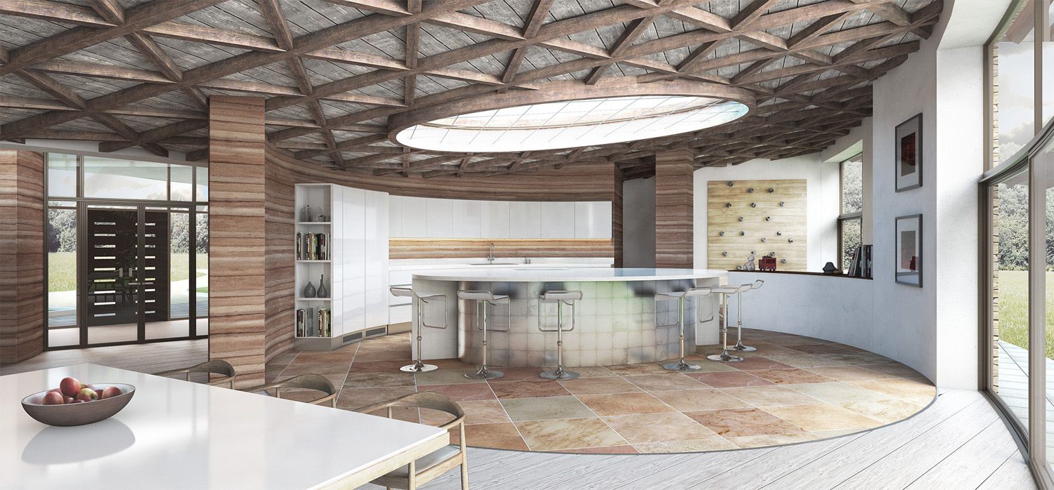 country home of the future circular kitchen