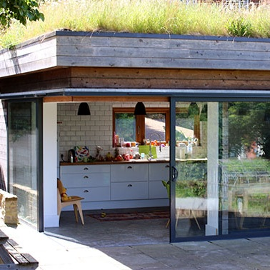 green roof to modern single storey extension