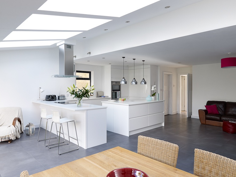 bright white kitchen with skylights