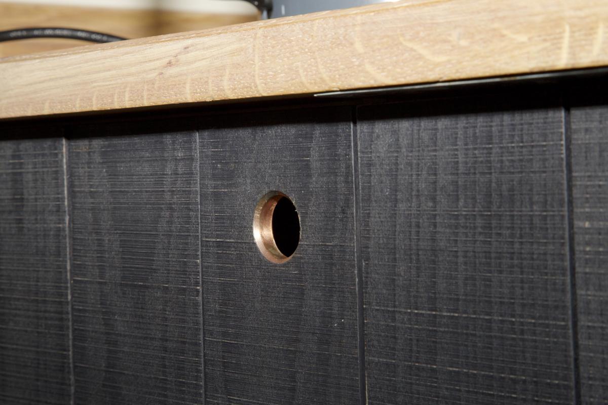 bespoke millwork copper finger pull detail