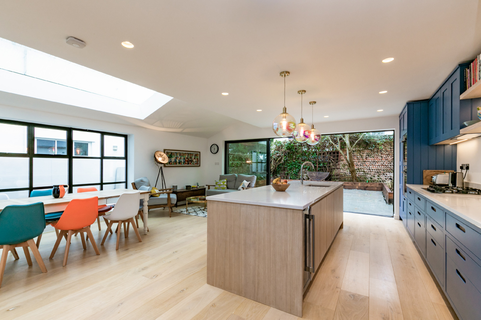kitchen island bright dining area connecting to terrace