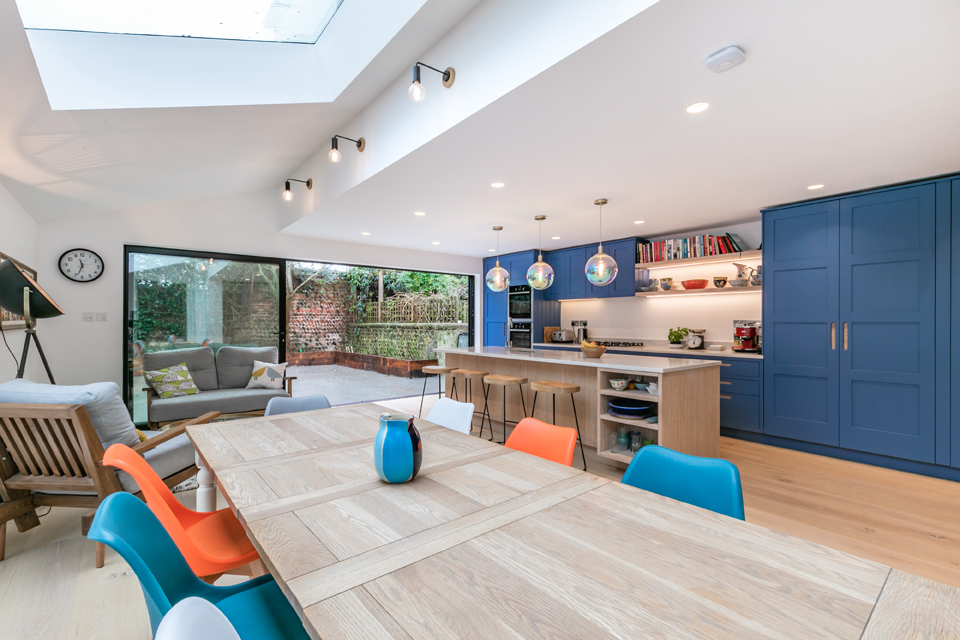 bright colourful and contemporary open plan living area