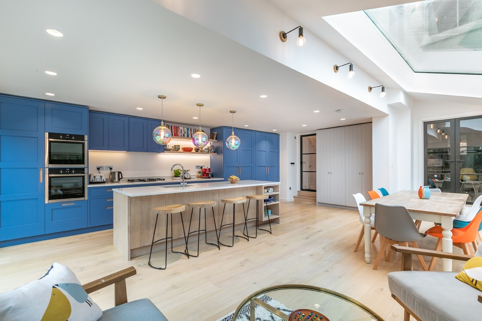 expansive skylight floods space with light