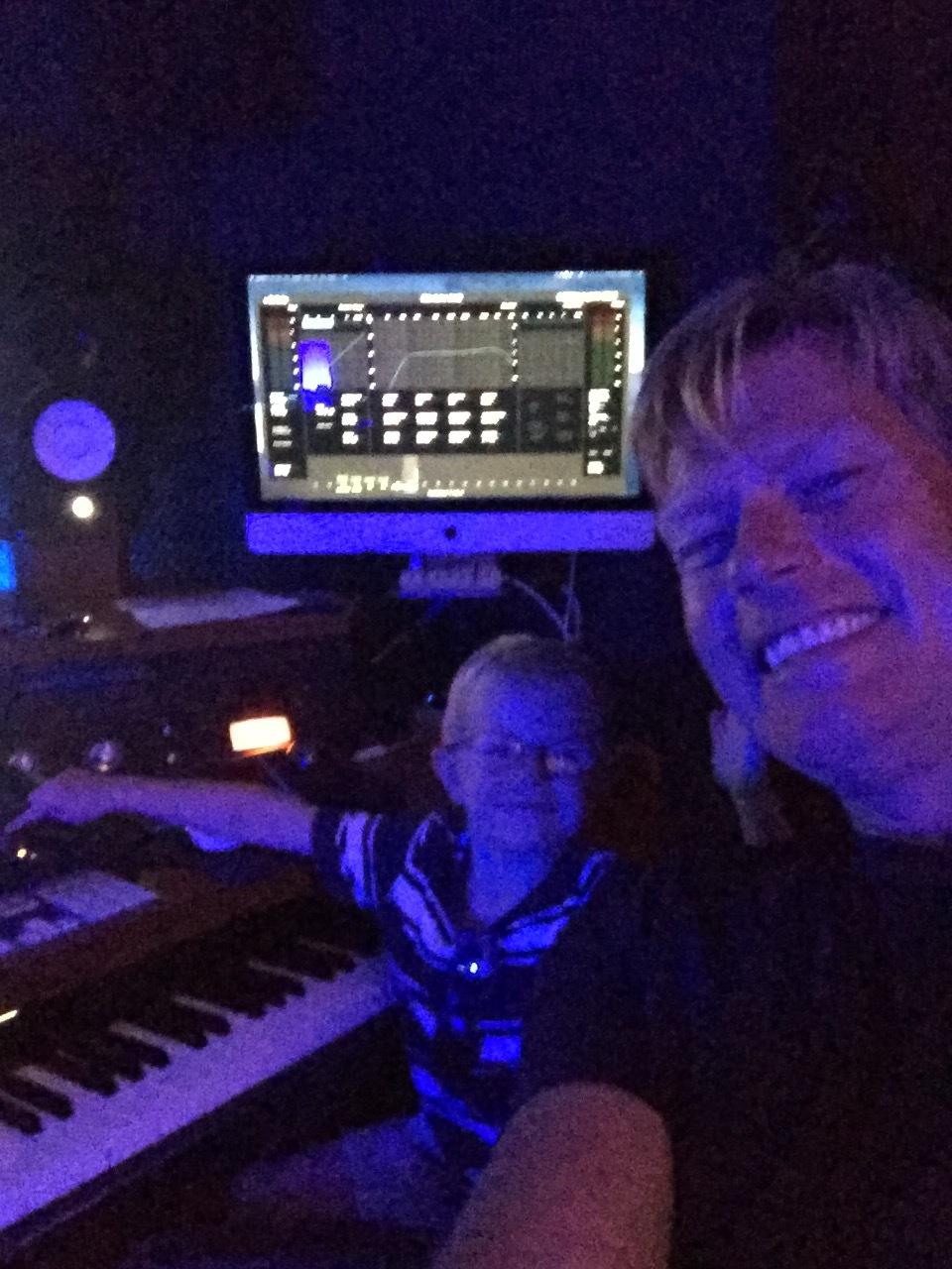 Rob & Reggy. Mixing in the studio.