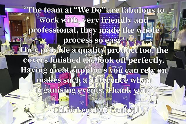 Another lovely testimonial from a recent event 😁, thank you Chloe Leach-O'connell! 🙌  Check out our website for decorations to hire: www.WeDoWeddingEventSupplies.co.uk  #eventplanning #eventideas #suppliers #decorations #specialevents #corporateevents #colours #hertfordshireevents #ceremony #Chaircovers #Corporate #Awards