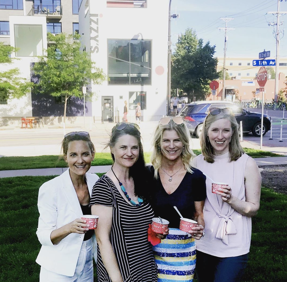 Cindy, Pam, Lynn, and Sarah in front of Izzy's in Gold Medal Park, 2019.