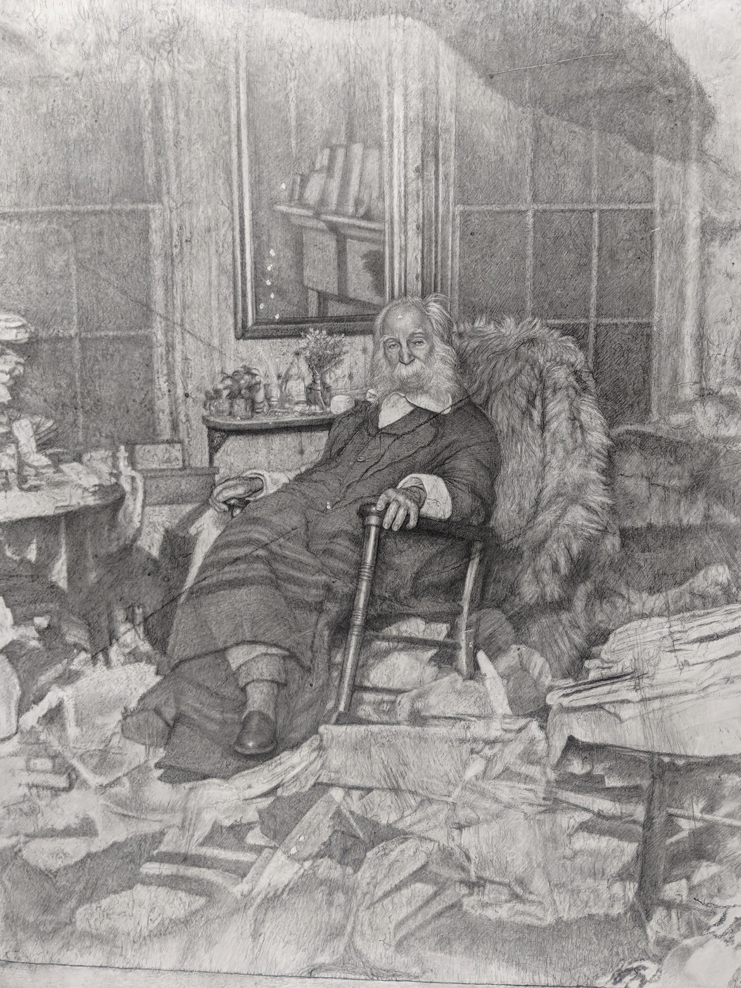 Mark Stockton,  The Poet in His Bedroom of Walt Whitman in repose amongst a chaos of papers,  graphite drawing, 2019. Courtesy of The Pennsylvania Academy of the Fine Arts