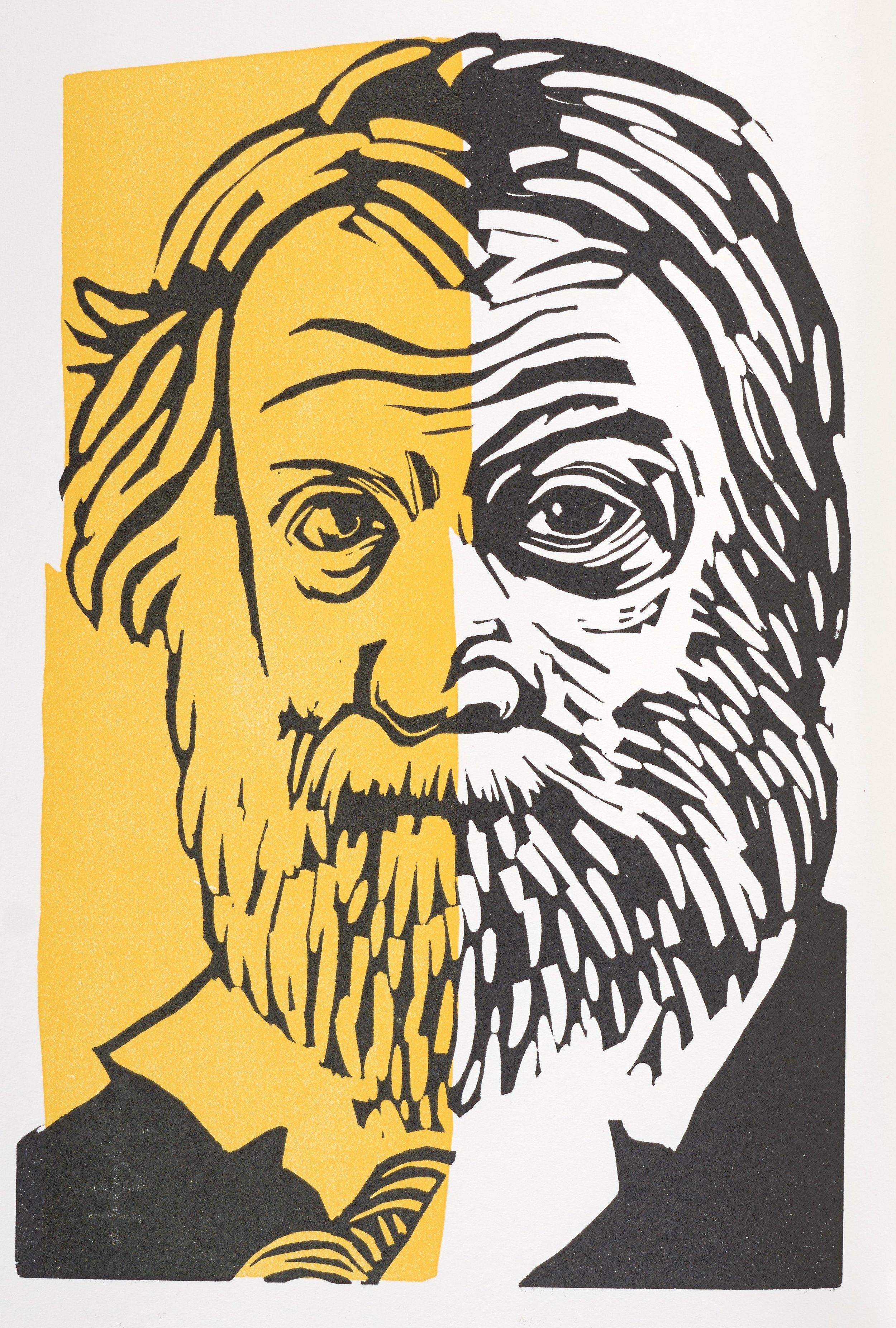 Barbara Henry,  Walt Whitman's Faces,  linocut,   2012