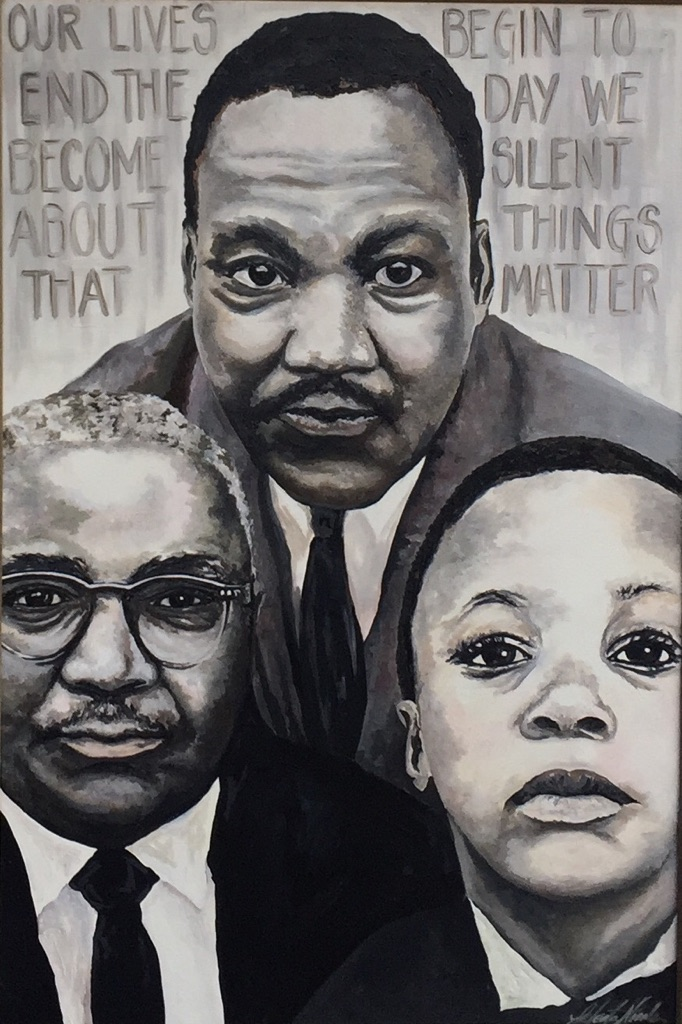 Jeleata Nicole,  3 Generations of the Kings,  oil painting. Courtesy of City of Philadelphia Office of Arts, Culture and the Creative Economy