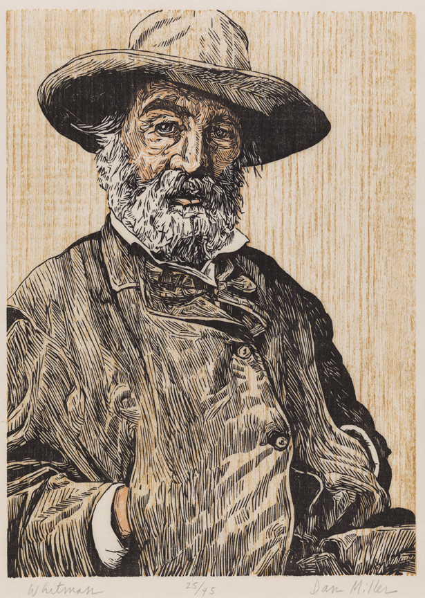 Dan Miller,  Walt Whitman , three-color woodcut on laid rice paper, 1981. Courtesy of The Pennsylvania Academy of the Fine Arts