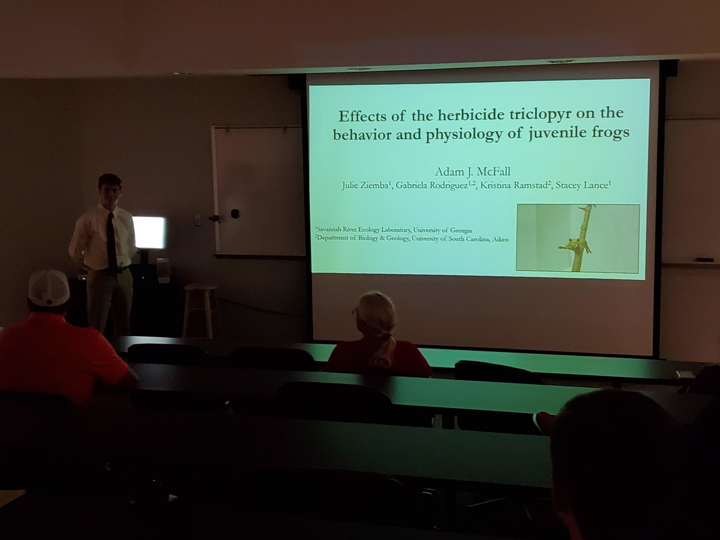 Congratulations to Adam McFall on presenting the research he completed with the Lance Lab as his undergraduate capstone research project at USC-Aiken! - Effects of the herbicide triclopyr on the behavior and physiology of juvenile frogs