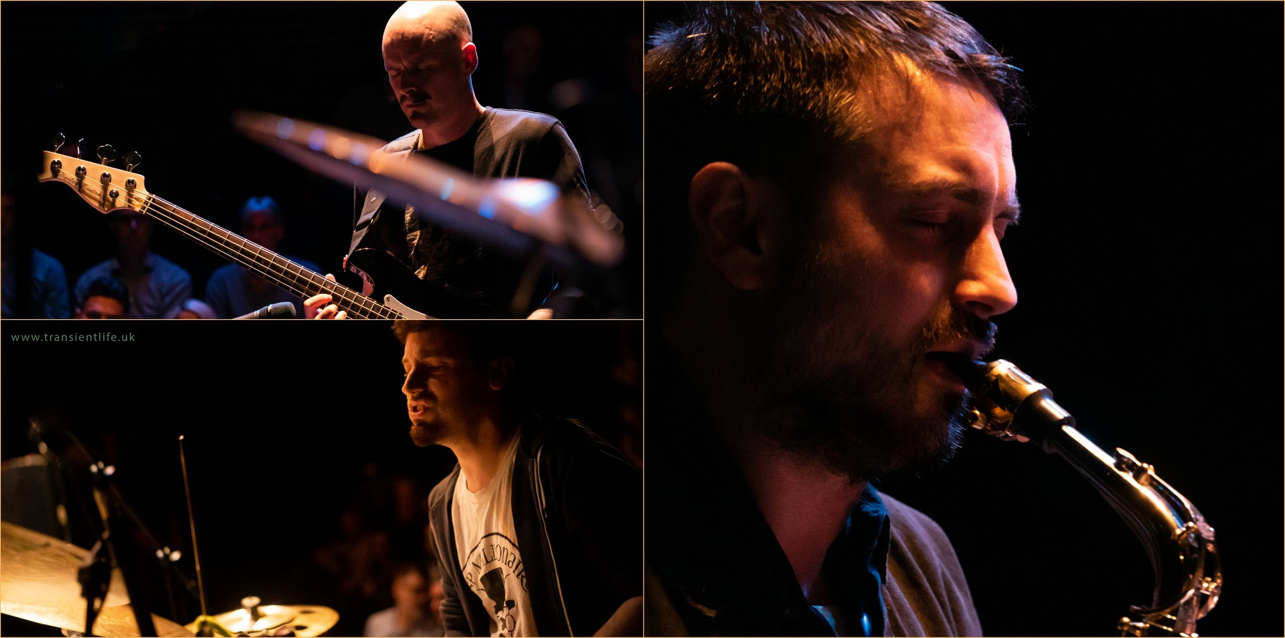 From top left, Chris Sharkey (bass), James Mainwaring (alto sax) and Luke Reddin-Williams (drums)
