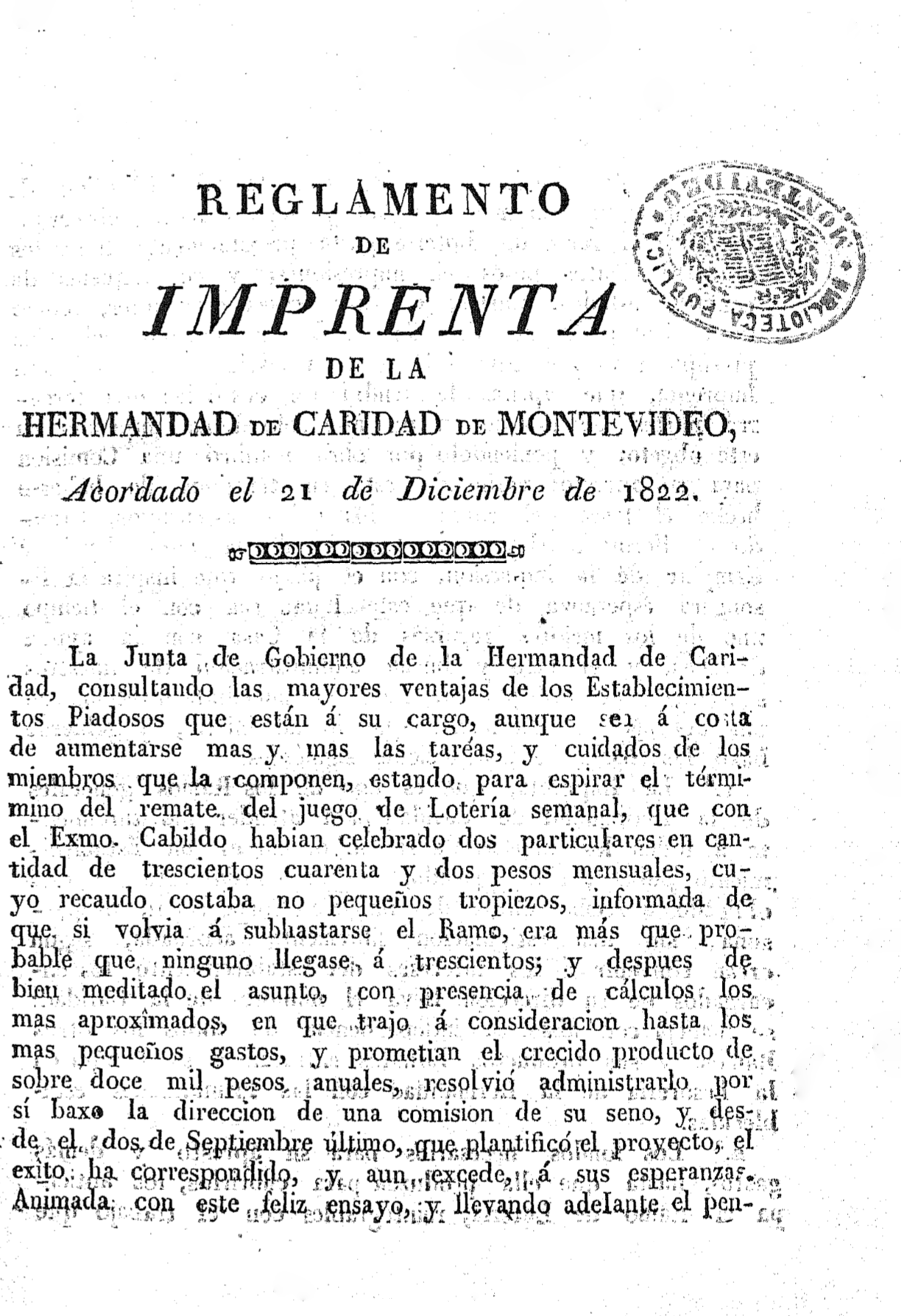 5. Regulation of La Imprenta de la Caridad de Montevideo (1826)