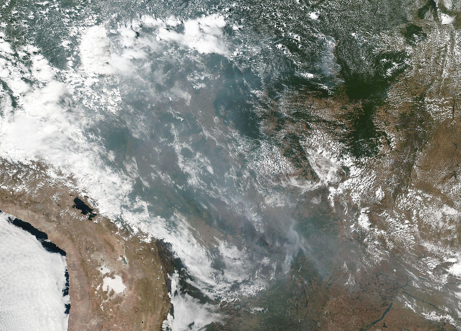 Smoke and fires in several states within Brazil, including Amazonas, Mato Grosso, and Rondônia. Brazil's National Institute for Space Research has detected almost 73,000 fires so far this year, a record. Photo credit: NASA.