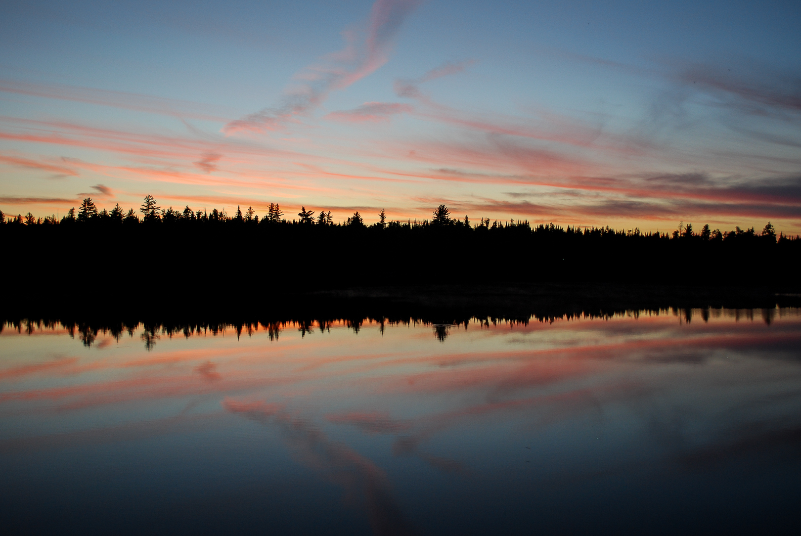 Sunset reflections in the Boundary Waters Canoe Area Wilderness.