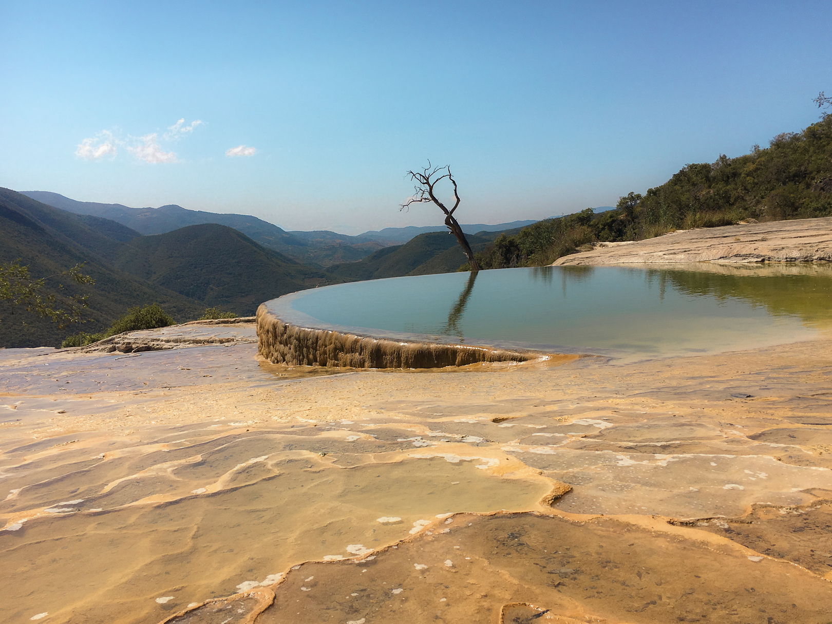 Mineral concentrations provide pools of turquoise-green water atop the cascada chica (small waterfall) of Hierve el Agua in the Mexican state of Oaxaca.