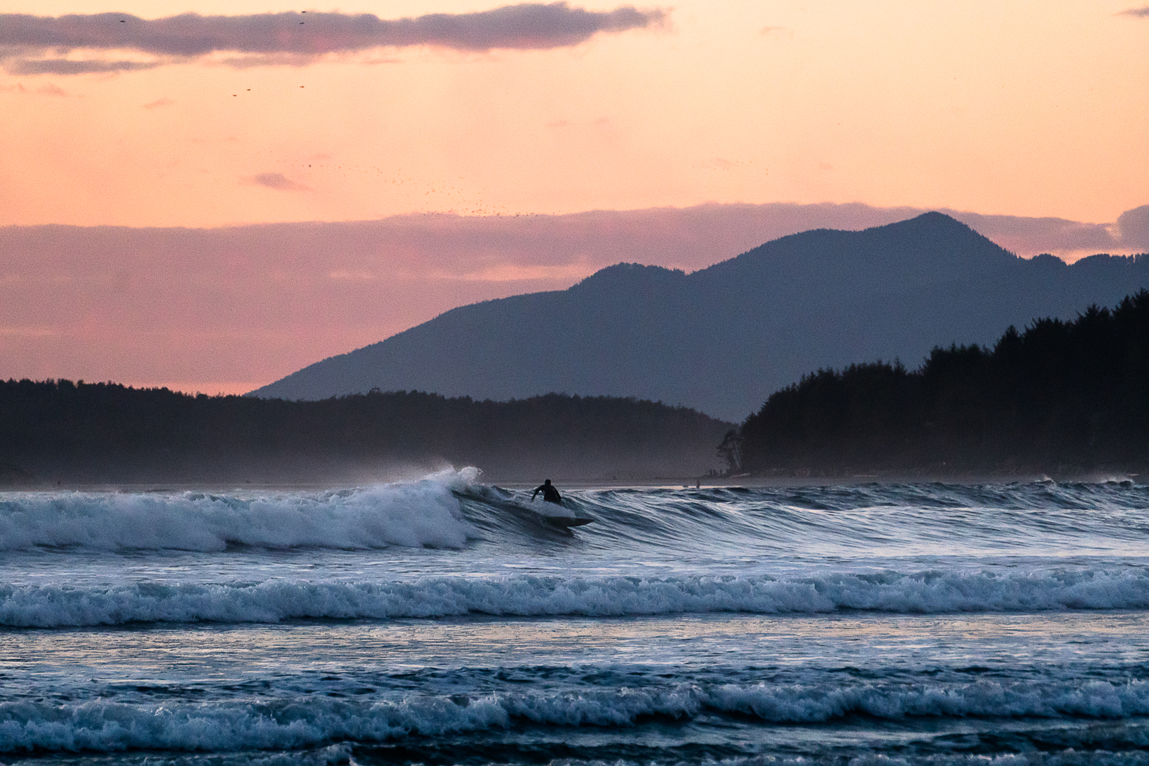 Coldwater surfing, Cox Bay Beach, Tofino, British Columbia
