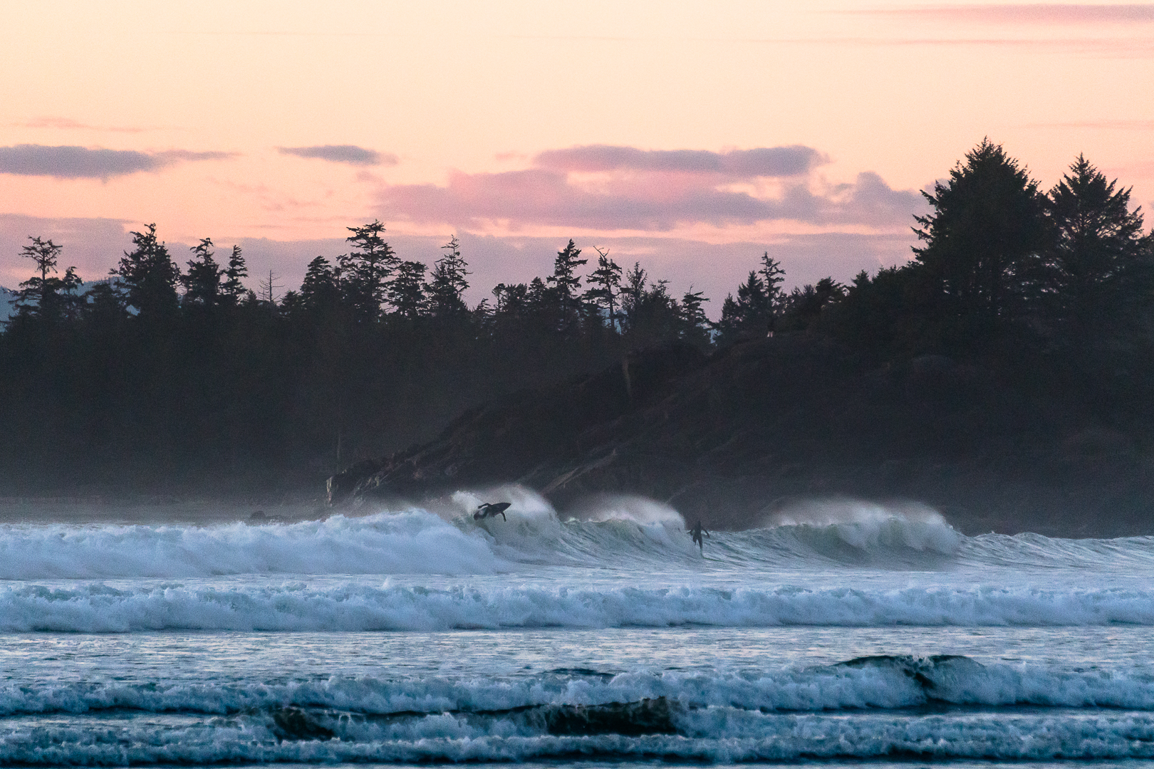 Coldwater surfing, Cox Bay, Tofino, British Columbia