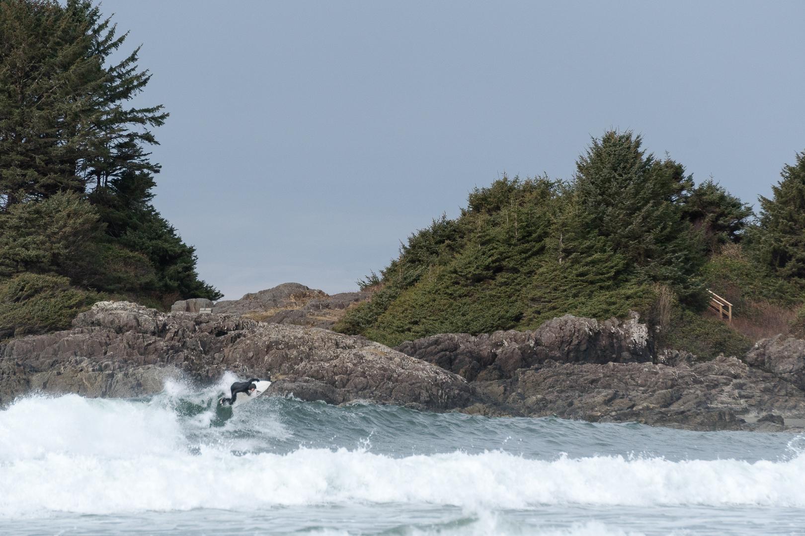 Coldwater surfing, Cox Bay, Tofino, British Columbia
