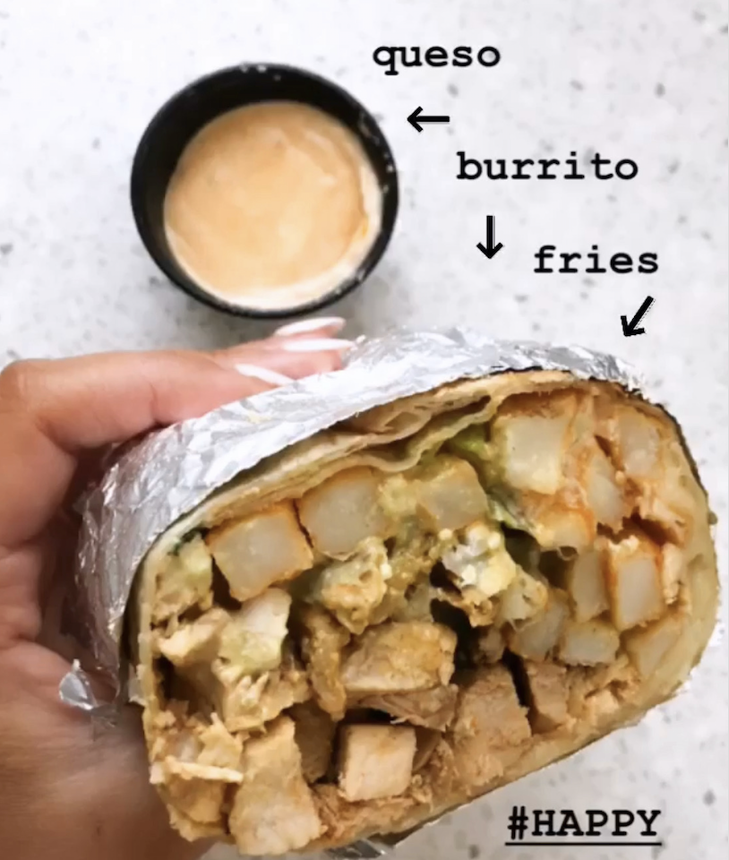 NORCAL BURRITO - 13 inch flour tortilla, carne asada vs pollo asado, straight-cut fries, cheese, sour cream, gucamole, secret sauce.