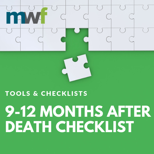 9-12 Months After Death Checklist