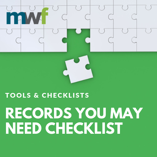Records You May Need Checklist