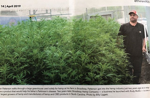"Catch us in Sanford's local paper, The Rant this week 🌱 ""Patterson got into the hemp industry just two years ago as a way to grow a product that would help his father's Parkinson's disease. Two years later, Broadway Hemp Company - a business he launched with Rudy Mullis - is one of the largest growers of hemp and manufacturers of hemp and CBD products in North Carolina."""