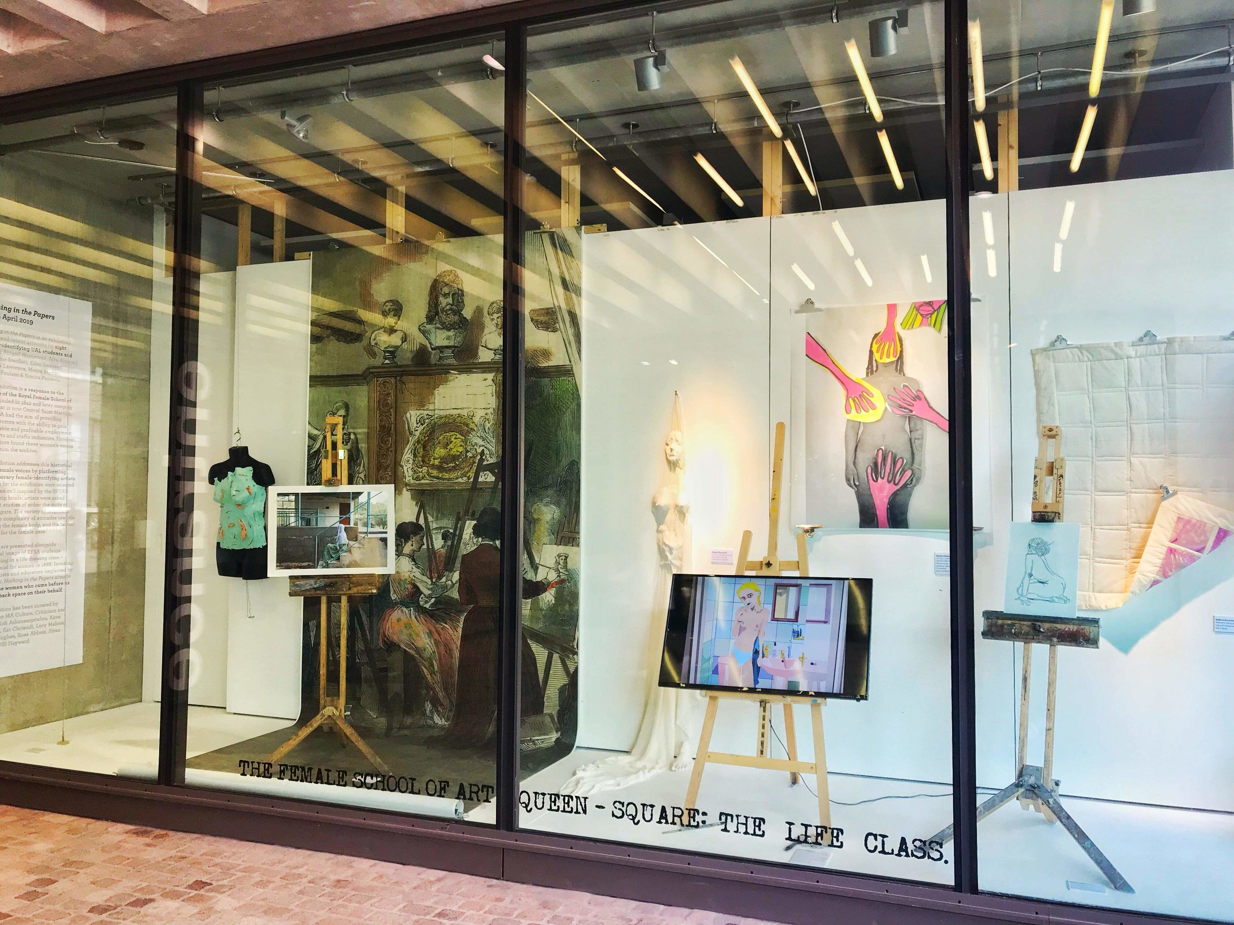 Nothing in the Papers  – the finished exhibition at Central Saint Martins Window Galleries from 11-25 April 2019