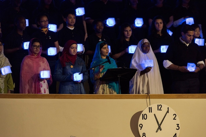 Education advocate Malala Yousafzai (third left) addresses the General Assembly during   the opening day of the UN Sustainable Development Summit. UN Photo/Mark Garten