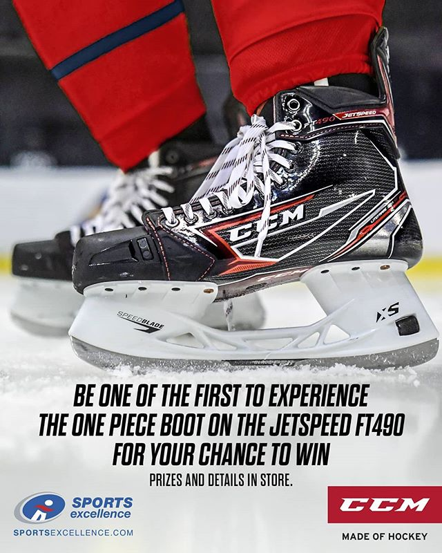 BE ONE OF THE FIRST TO EXPERIENCE THE ONE PIECE BOOT ON THE CCM JETSPEED FT490 SKATES FOR YOUR CHANCE TO WIN!  @SPORTSEXCELLENCE.HKY @CCMHOCKEY
