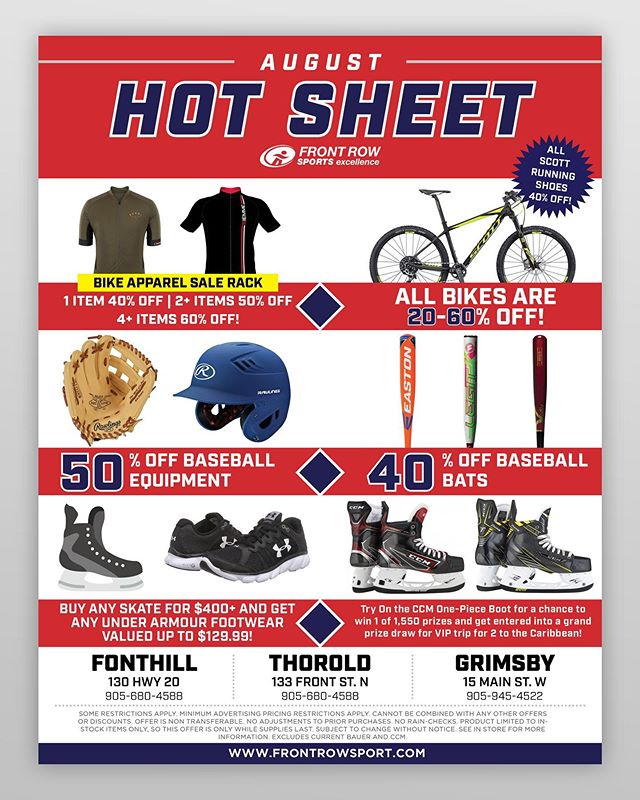 AUGUST HOT SHEET - Today is the last day to come in and take advantage of these 🔥 deals! From hockey to baseball and more, we've got you covered! • • • #FrontRowSports #Hockey #Baseball #Cycling #Skates #Sports #Shopping #Deals
