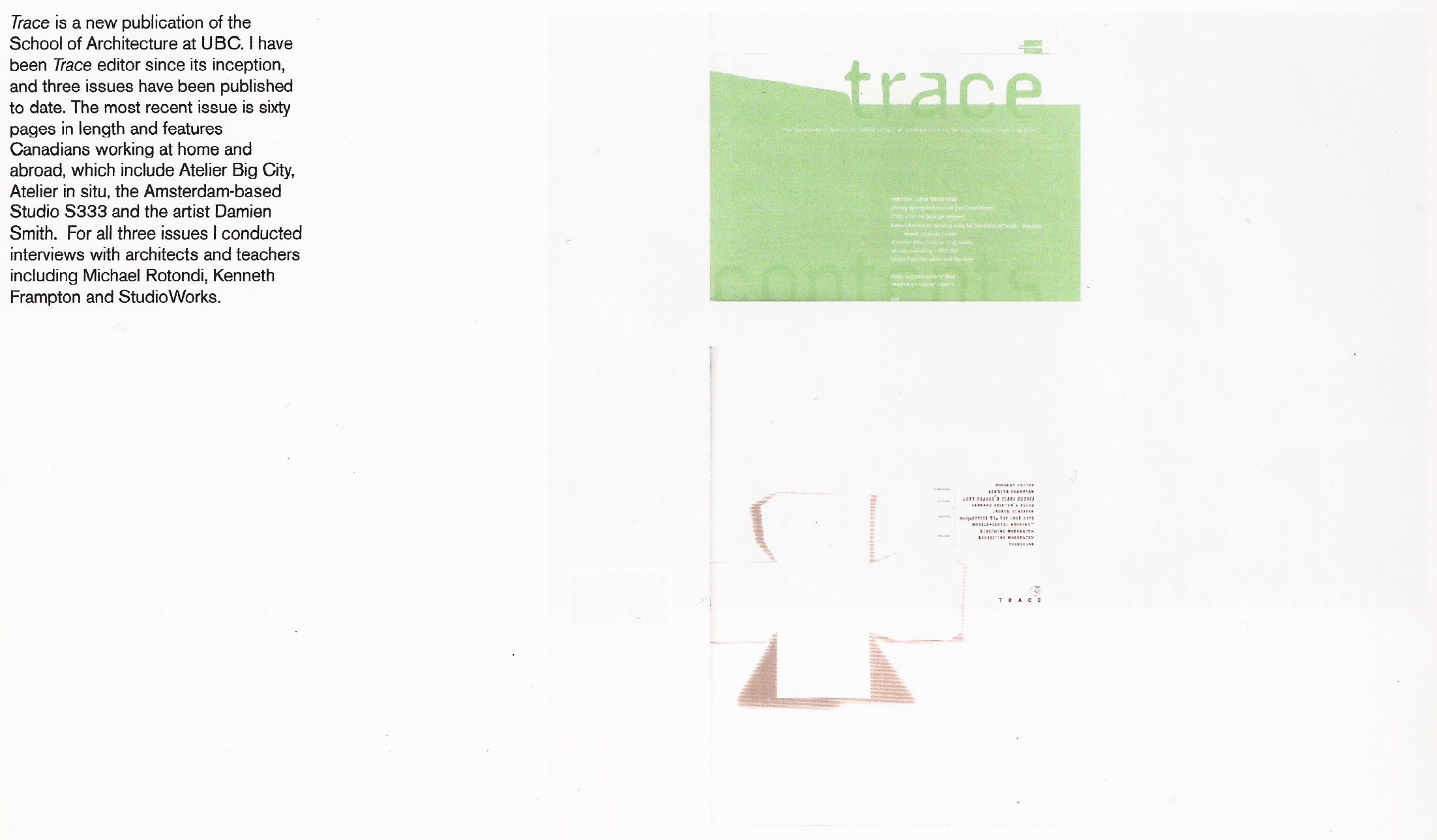 Trace, A Publication of the UBC School of Architecture