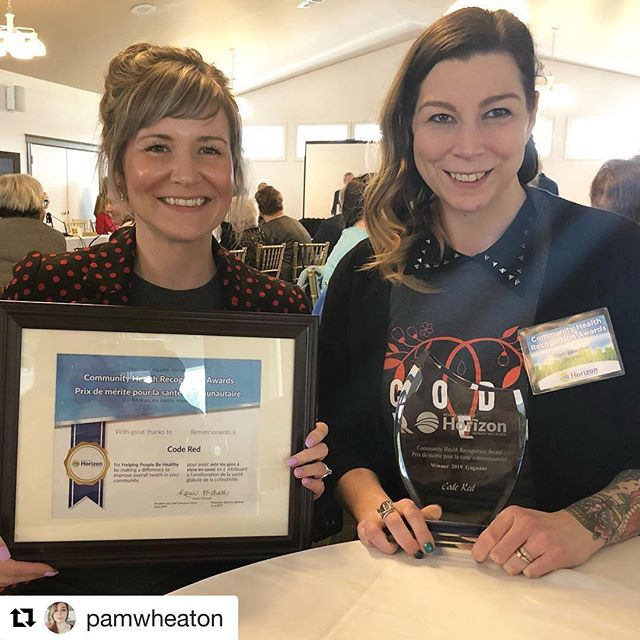 @pamwheaton and I took a little road trip to Miramichi to accept the Community Healthy Recognition Award from @horizonhealthnb on behalf of @coderedsj today!  So many great people and organizations recognized, so much good work happening in our communities ❣️