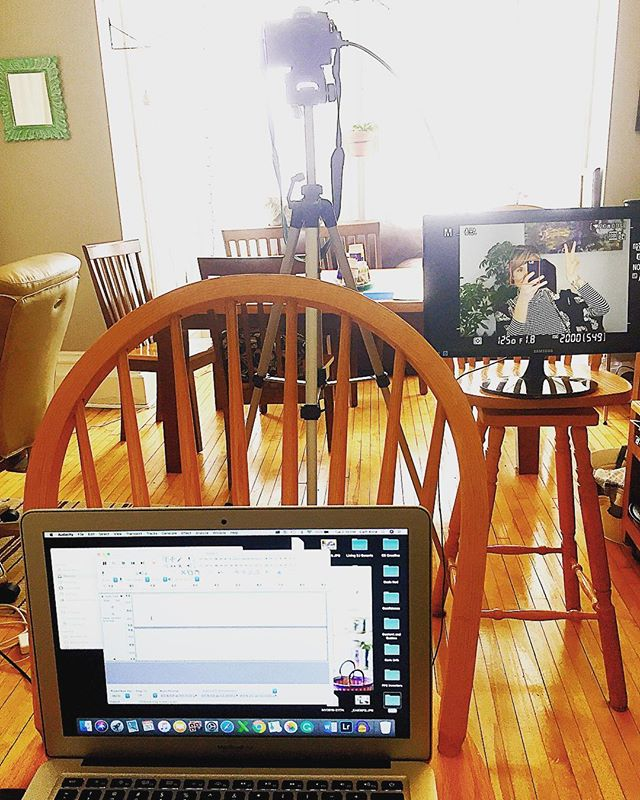 My filming setup is constantly changing. I'm thankful for the chairs we have been gifted from friends and family over the years - they make great mic stands, monitor props, and work surfaces. 🌿 . . . . . . . .  #filmingday #homeoffice #workfromhome #freelance #freelancewriter #officeinspiration #contentcreator #contentmarketing #practiceandallwillcome #practiceabdalliscoming #change #writersofinstagram #writerscommunity #writersofig #smallbusiness #writingbusiness #entrepreneur #entrepreneurlife #youtuber