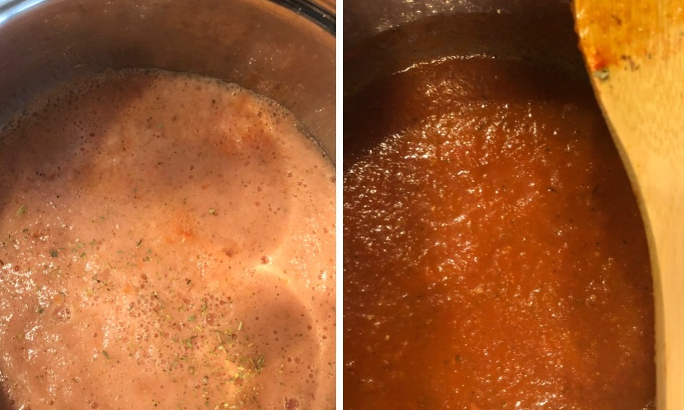 The color turns dark red when the sauce is ready.