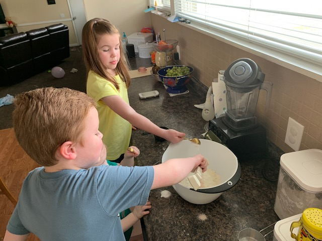 I wish I had sound on this picture. My kids love to count to three and toss all their ingredients in at the same time. If only you could hear the giggles.