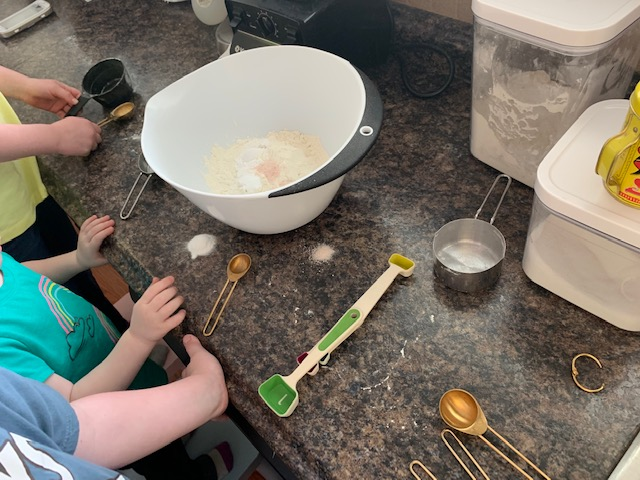 "Please note, we go through A LOT of baking soda/powder, salt and egg spills. It's quite common to hear one of my kids say, ""mooooooomm we need another egg!"" or ""get the spoon mom, we got shells."" Hence the little mounds of baking soda and salt haha!"