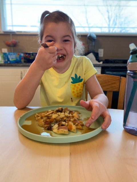 I'm going to dote on my oldest child. She's the best, she's the funniest, and she can pack down more pancakes than an award winning pancake eater. No joke.    Well there you have it! Hope you enjoy our Fun Flour Flying Friday! Now go eat some pancakes!