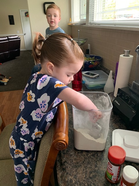 Now for the fun part. This is where the kids get to help and have a little fun, plus a lot of mess ( there's always flour everywhere). For the ingredients, you'll need a ziploc gallon bag. Have your kids put all the ingredients in a bag, ( however much or little you want. It's up to you).