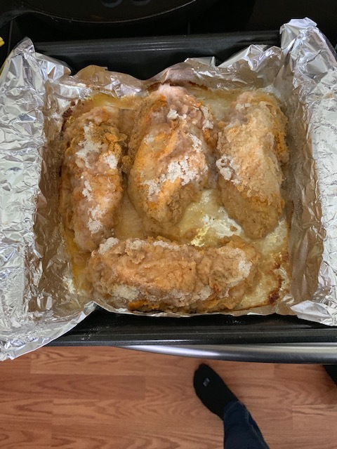 """Voila! You're tasty """"shake yo' chicken"""" chicken is done! We pair this chicken with homemade french fries, and a side salad. Makes for a great dinner!"""