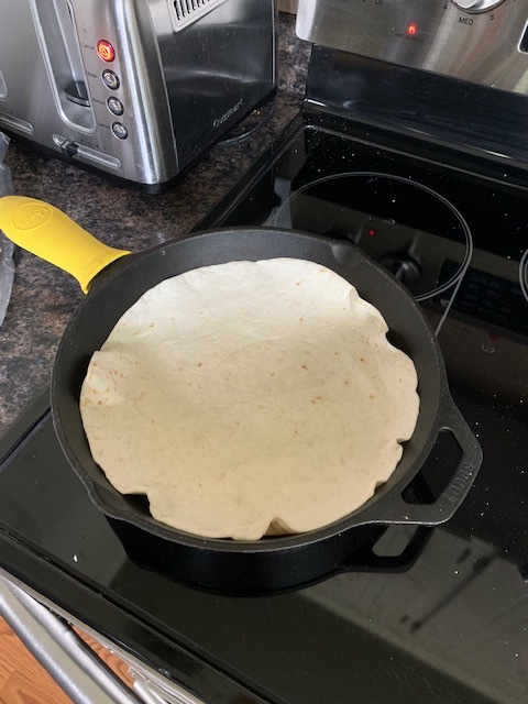 Heat up some tortillas. I use both corn and flour depending on my mood.
