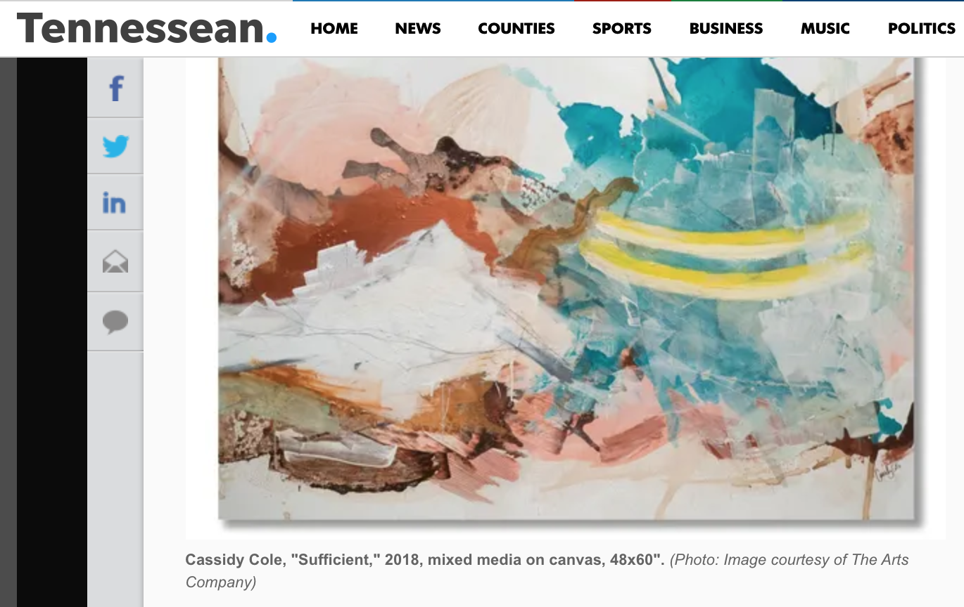 Cassidy Cole Solo Exhibition Highlighted in The Tennessean - July 2018