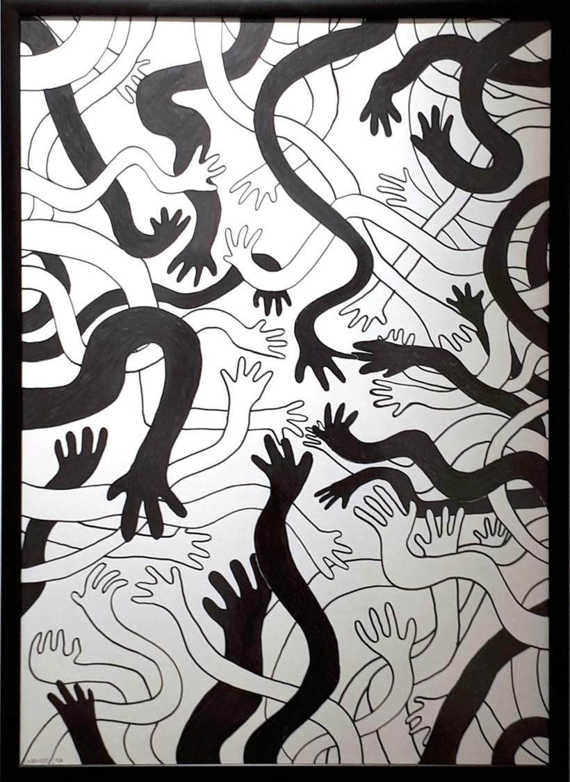 Hands   60x80cm, marker on canvas.  Price: £465, plus postage Ships from Budapest, Hungary