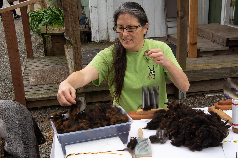 Wool combing demo.