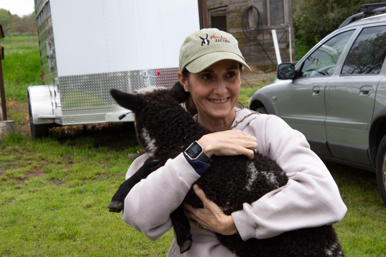 Farm Club member with lamb