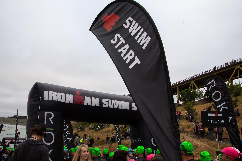 Swim start of Ironman in Santa Rosa 2019
