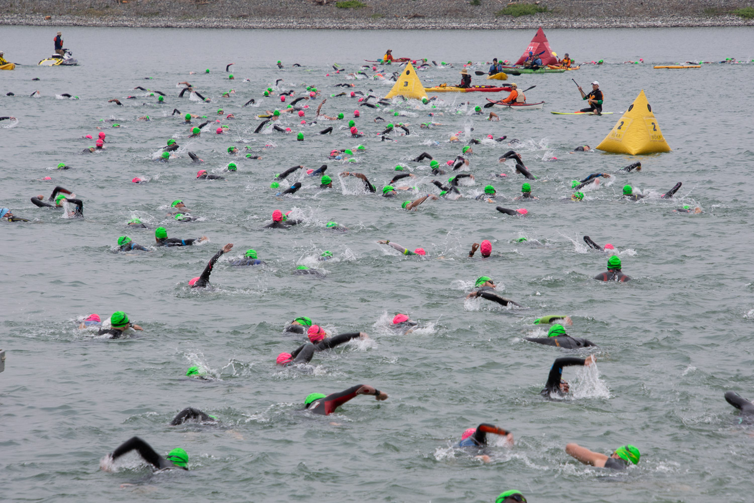 Swimmers in the water at the Santa Rosa Ironman 2019